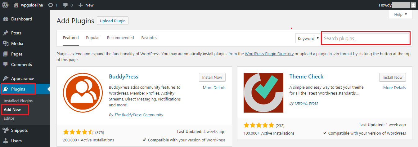 Search a Plugin at WordPress admin area