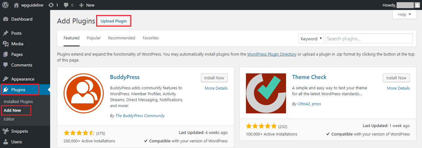 Upload a plugin on WordPress website