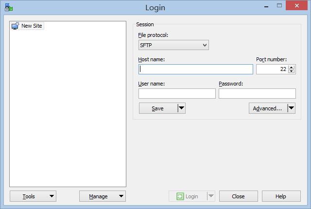 Log in WinSCP
