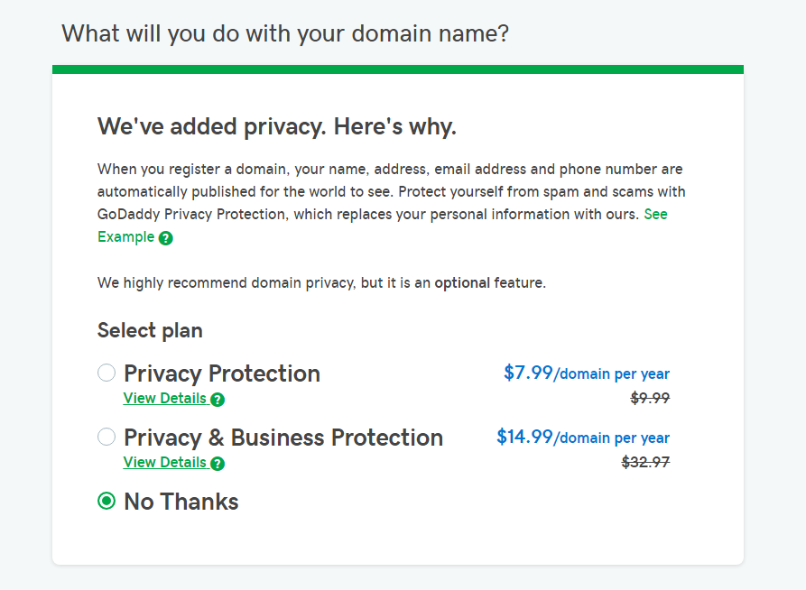 Privacy protection option