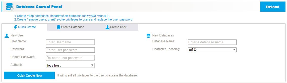 Database control panel