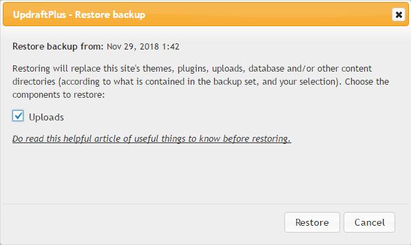 Updraftplus restores backups