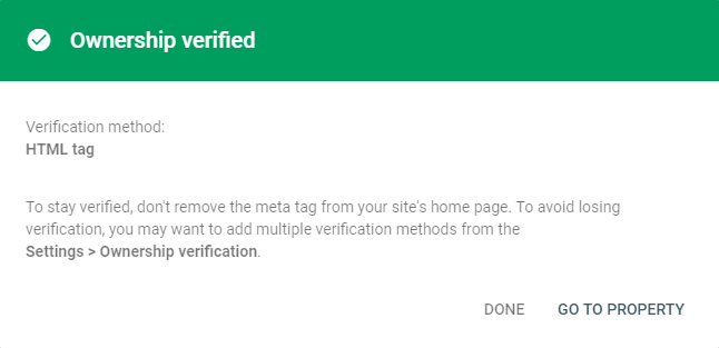 Website verified in Google search console