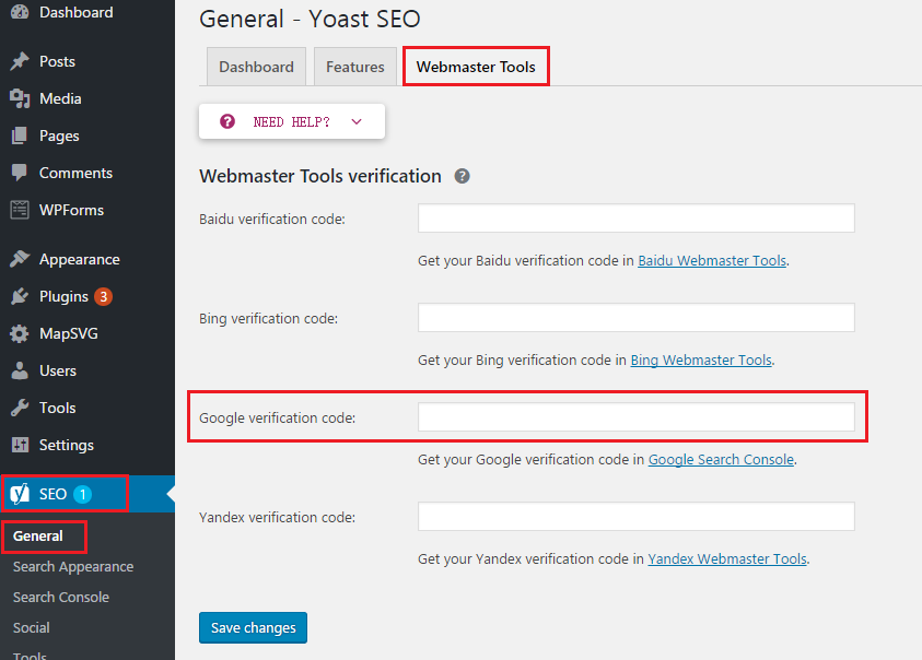 Verify website with Yoast SEO plugin