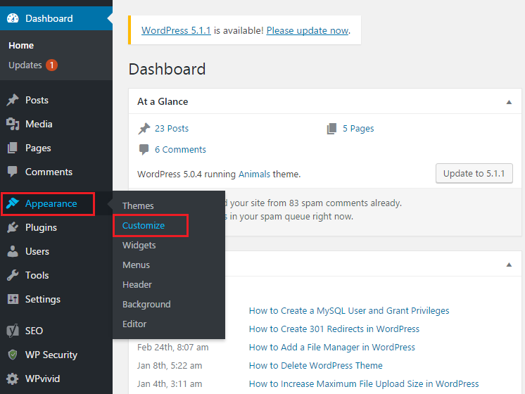 visit Appearence and Customize option in WordPress dashboard