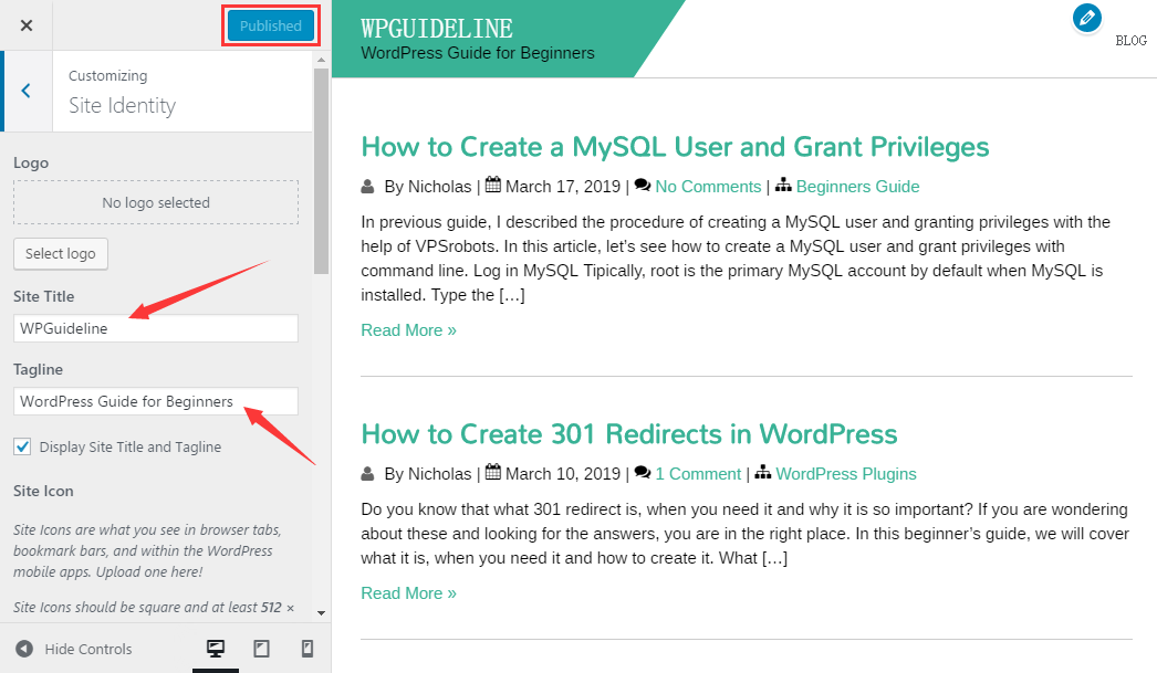 How to Change Site Title and Tagline in WordPress - WPGuideline