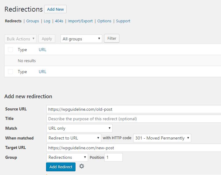 Redirection plugin dashboard