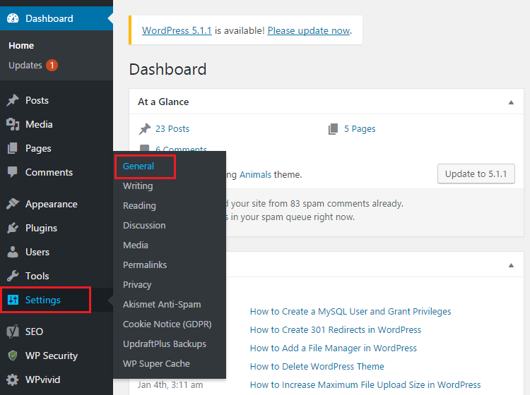 Visit Settings and General suboption in WordPress dashboard