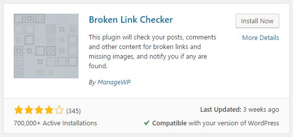 Search for Broken link checker plugin