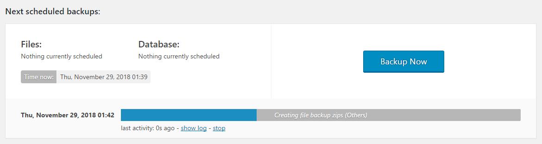 Updraftplus backup progress