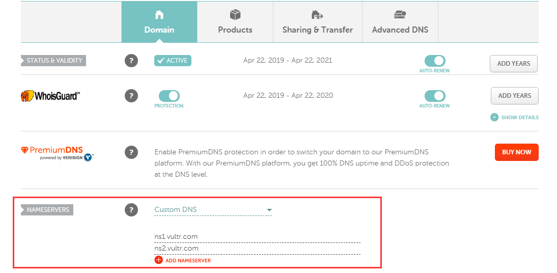 Add nameservers into Namecheap to point domain to server