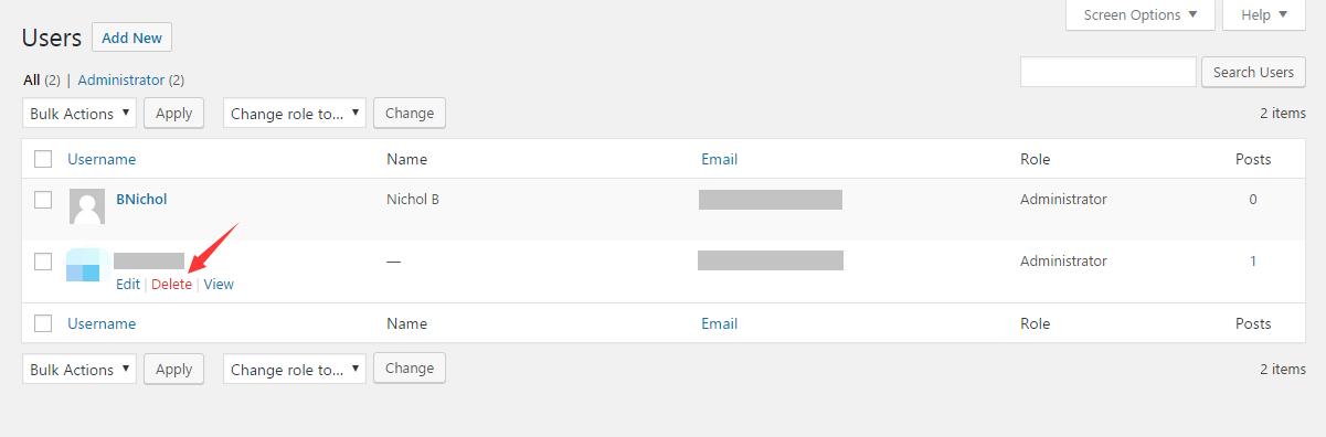Delete the old admin username