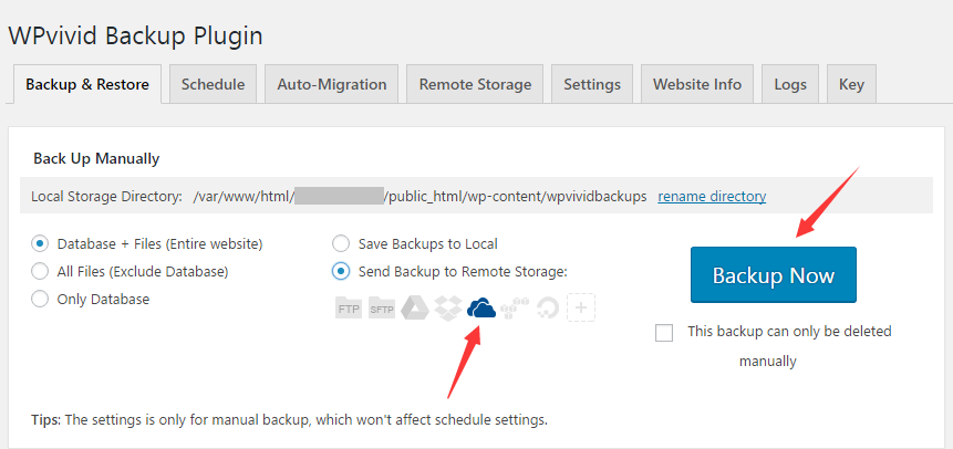 Backup&Restore tab page