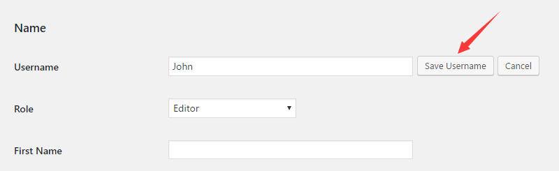 Change WordPress username for the existing user.