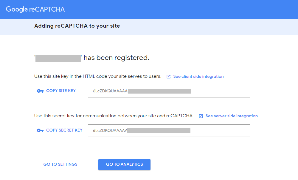 Site key and Secret key for Google reCAPTCHA