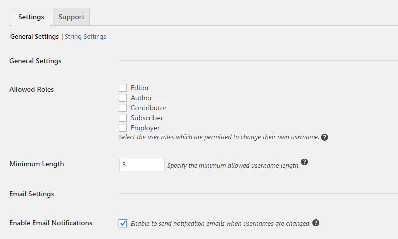 Username changer settings