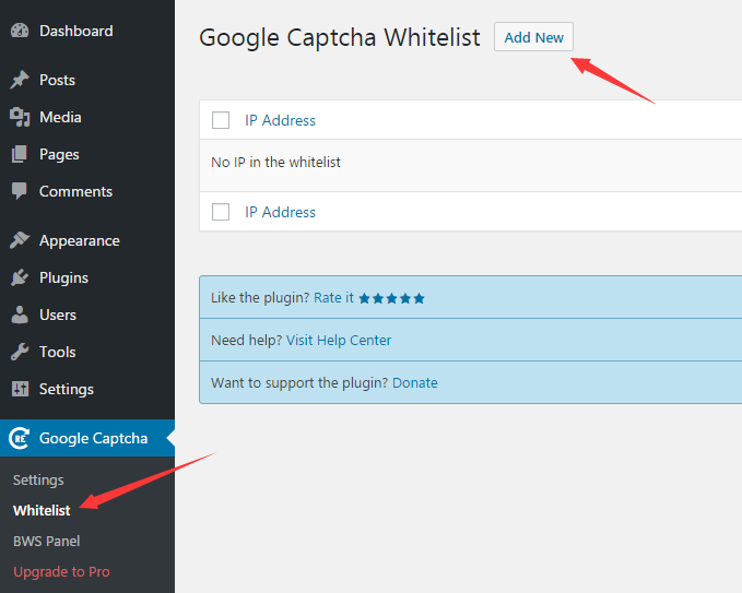 Add IP address in whitelist