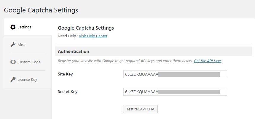 Copy and paste site and secret key in Googel reCaptcha