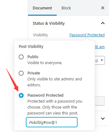 Protect WordPress page by password
