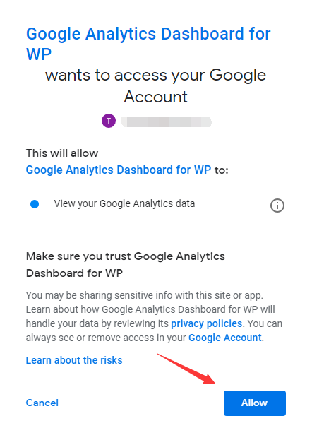 Allow Google Analytics Dashboard for WP to access Google account