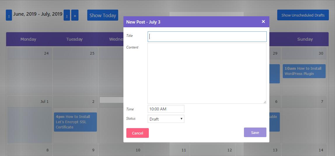 Create a new post in post schedule calendar