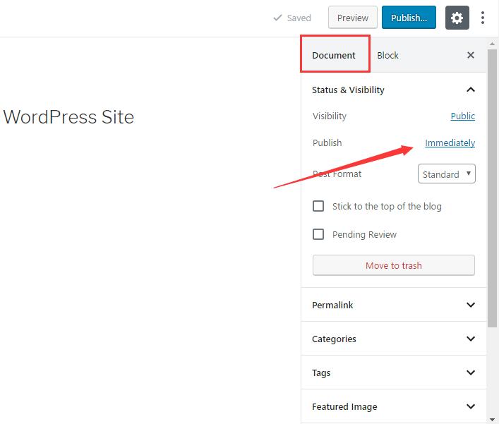 Schedule post in WordPress via post editor