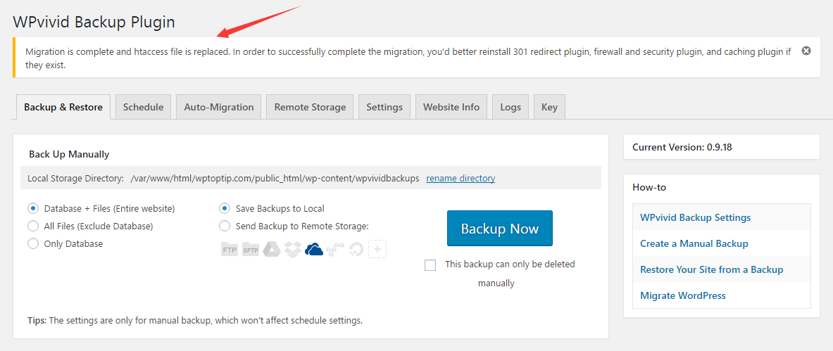 Migrate WordPress site successfully.