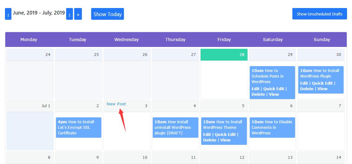 Create a new post in schedule calendar