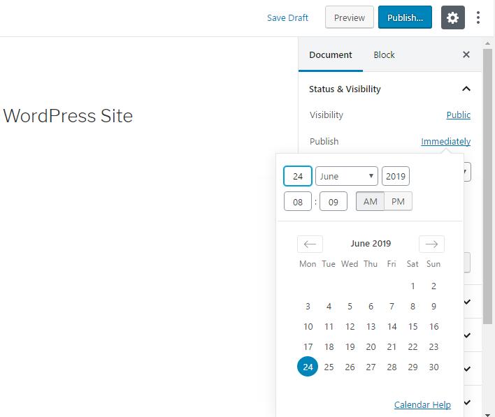 Post schedule calendar in WordPress