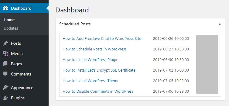Display scheduled posts in WordPress admin dashboard