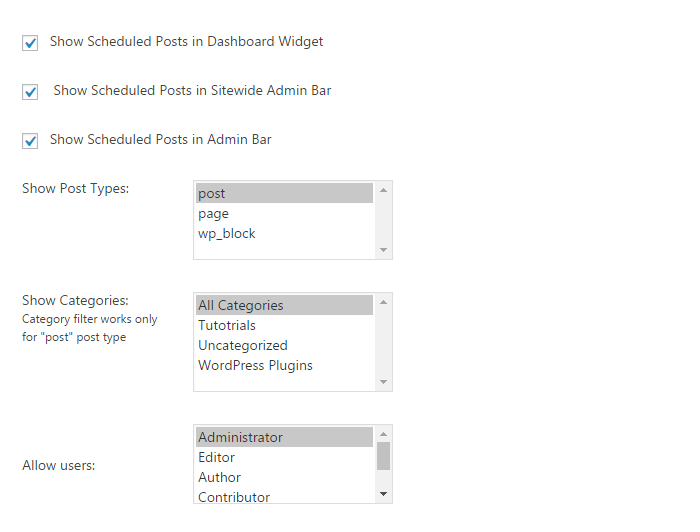 WP Scheduled Posts Options