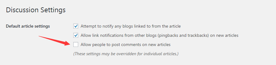 Uncheck the option of 'Allow people to post comments on new articles'