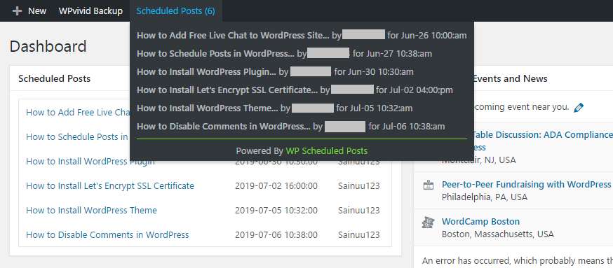 Display scheduled posts in admin bar