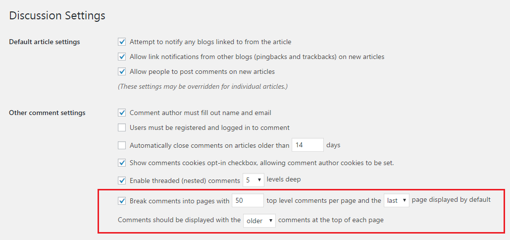 Paginate comments in WordPress