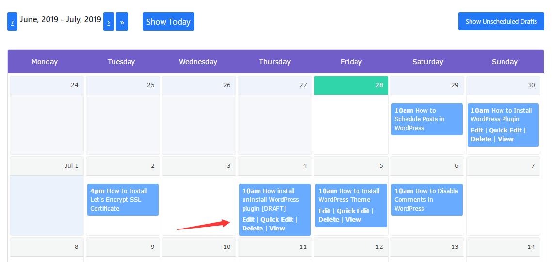 Quick edit posts schedule calendar