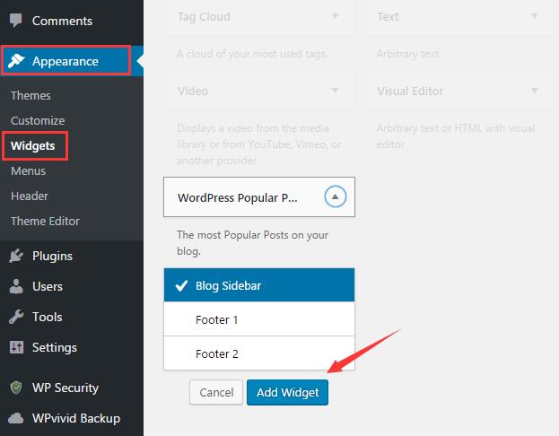 Add WordPress popular posts widget to sidebar