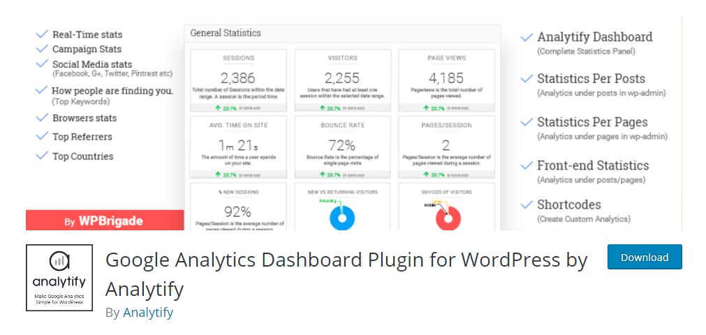 Google Analytics dashboard plugin by Analytify