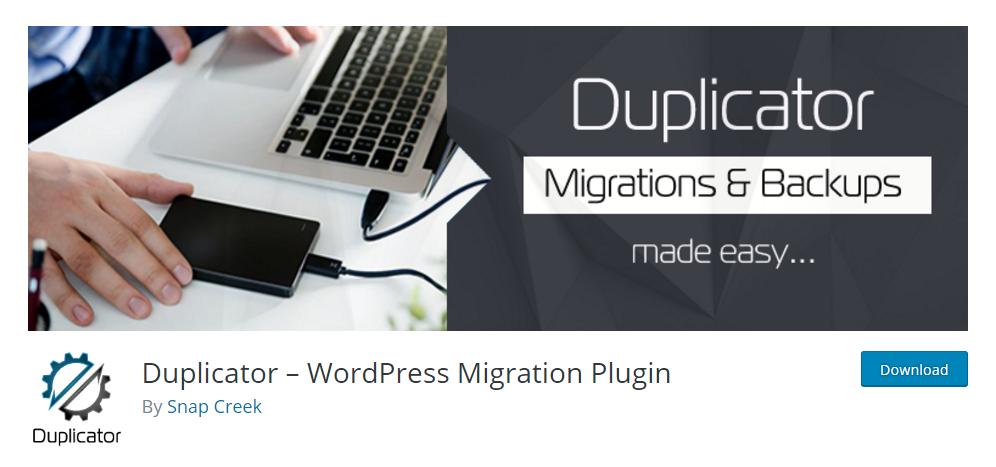 Duplicator - free WordPress backup plugin