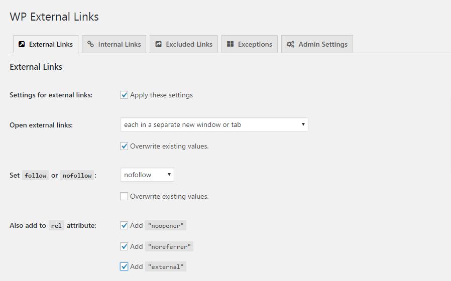 External Links settings