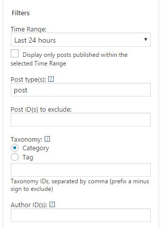 Filter displaying posts