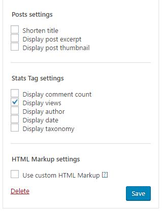 WordPress popular post settings