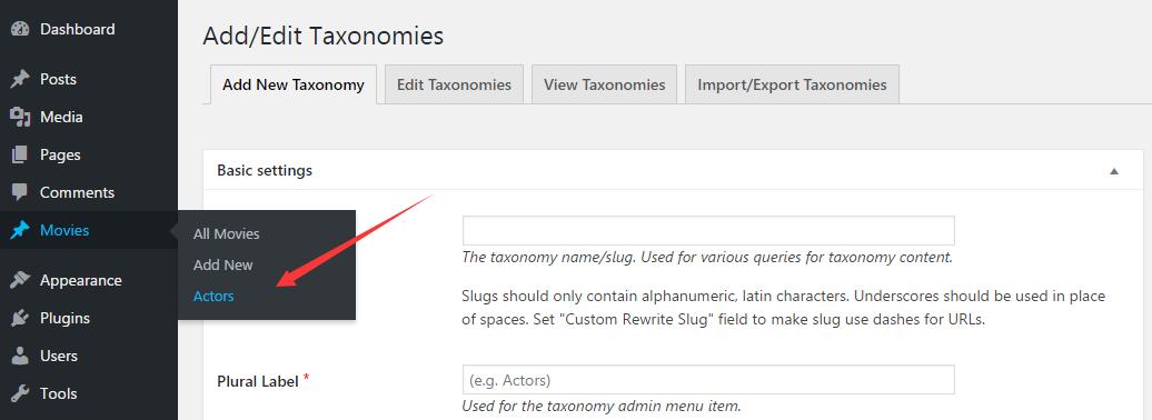 Actors: cutome taxonomies