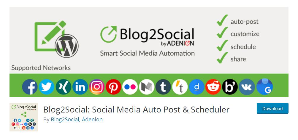 Blog2Social social media auto-publish plugin