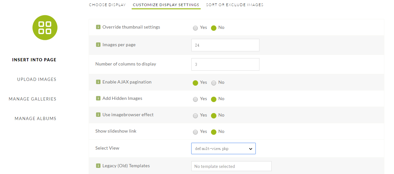 Customize display settings