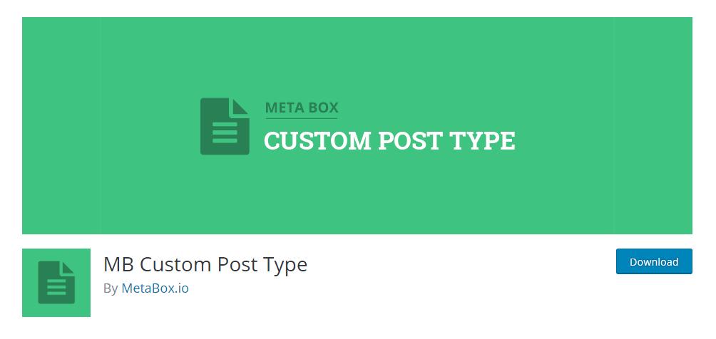 MB Custom Post Type plugin