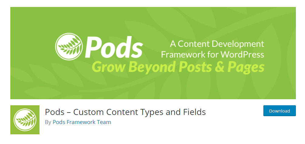 Pods - Custom content types and fields