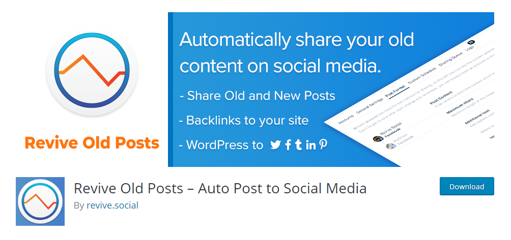 Revive Old posts- social media auto publish plugin