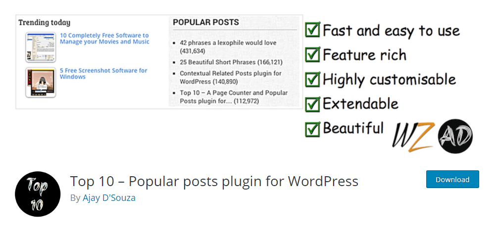 Top 10 - Popular posts plugin for WordPress