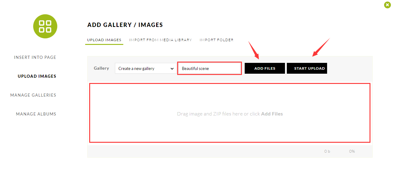 Upload images with NextGen Gallery plugin