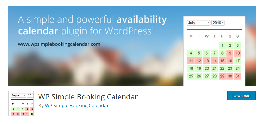 WP Simple Booking Calendar - WordPress booking plugin